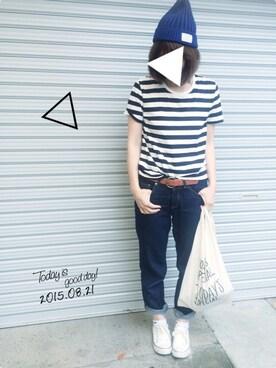ケイティさんの「オーガニックコットンクルーネック半袖Tシャツ(ボーダー)L・白×黒(無印良品)」を使ったコーディネート
