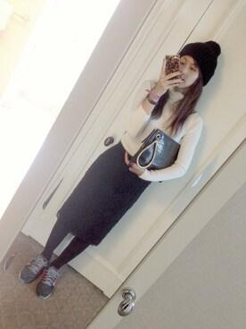 安田美沙子さんの「レースタイトスカート(AULA AILA|アウラ アイラ)」を使ったコーディネート