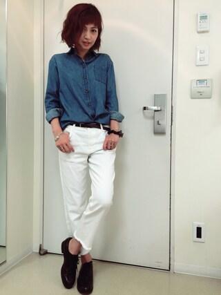 安田美沙子さんの「デニムシャツ(FLORENT|フローレント)」を使ったコーディネート
