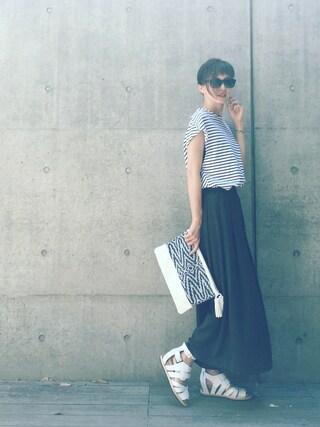 安田美沙子さんの「ボーダートップス(FLORENT|フローレント)」を使ったコーディネート