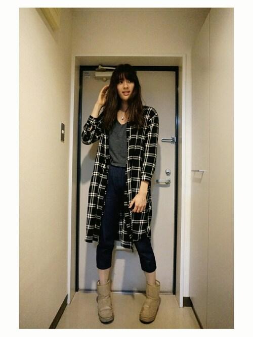 NINAさんの「WOMEN フランネルロングシャツ(長袖)(ユニクロ)」を使ったコーディネート