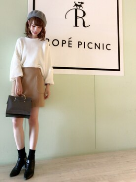 ROPE' PICNIC 阪急西宮ガーデンズ|yuukaさんの「モールヤーンキモノスリーブニット(ROPE' PICNIC)」を使ったコーディネート
