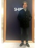 渡邉さんの「Fox Knapp for SHIPS: SHIPS別注 クラシック Pコート■(SHIPS シップス)」を使ったコーディネート