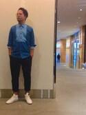 keitaさんの「KURO/クロ/WESTPOINTデニムシャツ(KURO|クロ)」を使ったコーディネート