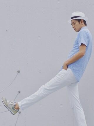 Shinichi.nextさんの「MEN スキニーフィットテーパードジーンズ+(ユニクロ|ユニクロ)」を使ったコーディネート