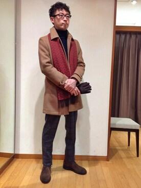 SHIPS 池袋西武店|中尾さんのステンカラーコート「SD: ダブルフェイス ソリッド カーコート■(SHIPS DRESS|シップスドレス)」を使ったコーディネート