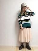 ☆★gizmo★☆さんの「プリーツずるワンピース(merry jenny|メリージェニー)」を使ったコーディネート