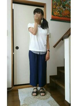 志帆さんの「【吸水速乾】シャツレイヤー半袖/712584(GLOBAL WORK)」を使ったコーディネート