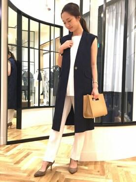 FIGARO Paris 東京店|yukiさんの「綿麻ストレッチツイルロングジレ◆(FIGARO Paris)」を使ったコーディネート