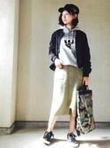 しまゆうさんの「フロントボタンニットタイトスカート(MURUA|ムルーア)」を使ったコーディネート