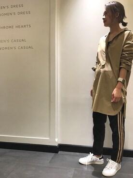 ユナイテッドアローズ 横浜店|Rinko Takeuchiさんの「BY コットンタイプライターロングシャツワンピース(BEAUTY&YOUTH UNITED ARROWS)」を使ったコーディネート