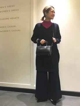 ユナイテッドアローズ 横浜店|Rinko Takeuchiさんの「UWMF ハイネック パフスリーブ ニット(UNITED ARROWS)」を使ったコーディネート