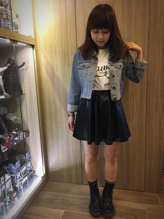 「MOTO HEMMED CROP DENIM JACKET(TOPSHOP)」 using this t looks