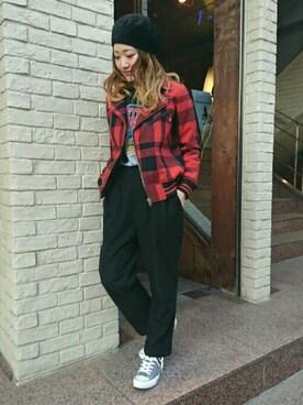 HYSTERIC GLAMOUR渋谷店|mariko.tさんの「SO ALONE刺繍 ダブルライダーススタジャン(HYSTERIC GLAMOUR)」を使ったコーディネート