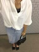 もさんの「【2017S/S 新色追加】[贅沢ジョーゼット]5分袖スキッパーシャツ(philter|フィルター)」を使ったコーディネート