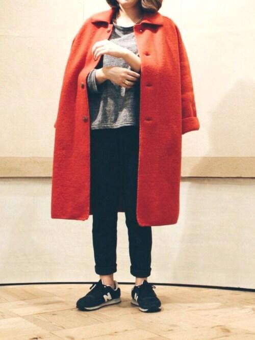 CHIZUさんの「ハーフゲージ×天竺編みTシャツ(45R)」を使ったコーディネート