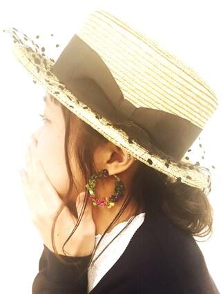 いちご☻さんの「チュール付 カンカン帽(didizizi|ディディジジ)」を使ったコーディネート