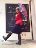 yamaさんの「ボーダー柄折りたたみ傘(coen|コーエン)」を使ったコーディネート