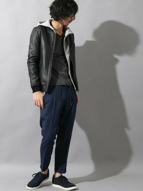レザージャケットメンズ 着こなしのブルゾン「STUDIOUS 【STUDIOUS】ラムレザーMA-1」を使ったコーディネート