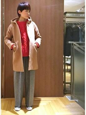 SHIPS 渋谷店|涌井さんの「HAMILTONラムウールフードコート◇(SHIPS for women)」を使ったコーディネート