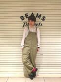 ナカヨシ サキさんの「BEAMS BOY / US ARMY オーバーオール(BEAMS BOY|ビームスボーイ)」を使ったコーディネート