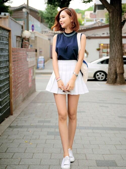 chuuさんの「ベーシックハイウエストフレアテニススカート」を使ったコーディネート