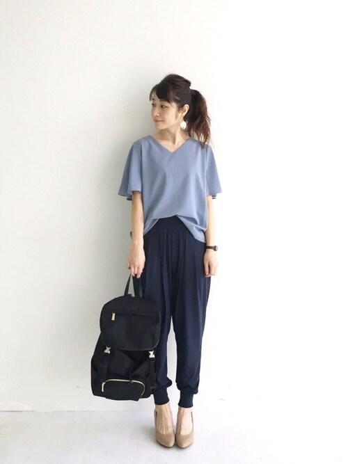 haco!|iyuさんのシャツ/ブラウス「ラッフルスリーブのきれいめTブラウス(haco!|ハコ)」を使ったコーディネート