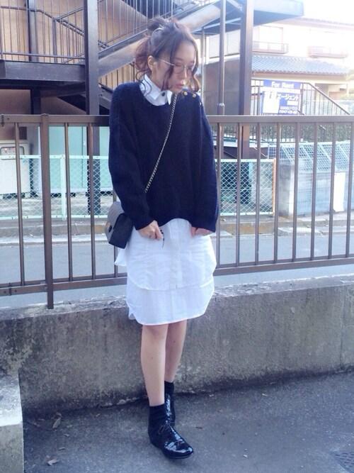 shihoさんの「タイプライターシャツワンピース(The Dayz tokyo)」を使ったコーディネート