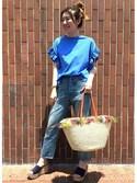 JOURNAL STANDARD Lady's 神戸店 スタッフさんの「《追加2》クリアコットン フリルTシャツ_#(JOURNAL STANDARD|ジャーナルスタンダード)」を使ったコーディネート