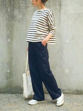 あさひさんの「ビッグマリン ボートネック シャツ(Traditional Weatherwear|トラディショナルウェザーウェア)」を使ったコーディネート