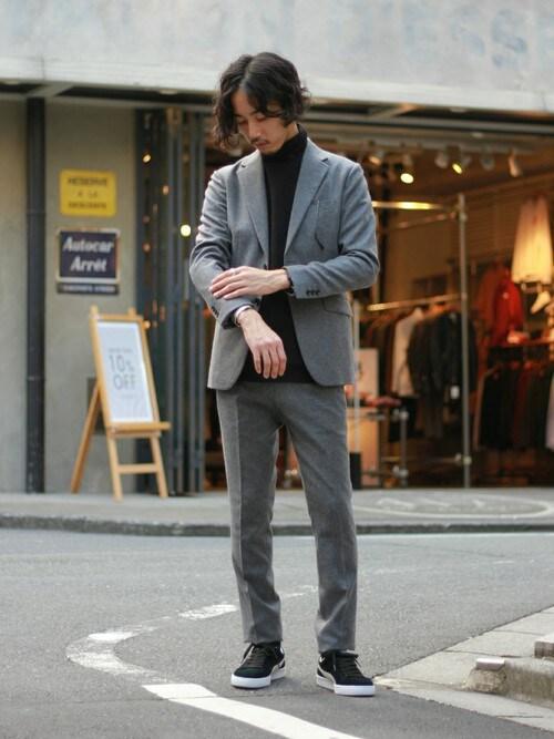 417 by EDIFICE渋谷店417byEDIFICE渋谷店スタッフ7さんのテーラードジャケット「◇カシミアブレンドストレッチ フラノ2Bジャケット(417 EDIFICE|フォーワンセブン エディフィス)」を使ったコーディネート