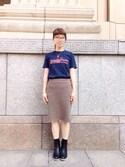 MAKORIさんの「NUSY LOVE&PEACE メッセージTシャツ〈大人〉(haco.|ハコ)」を使ったコーディネート