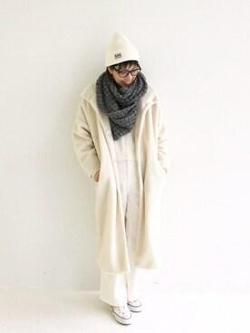 haco!|MAKORIさんの「これ1枚でぬくぬくのスタンド衿ゆったりボアコート(haco!)」を使ったコーディネート