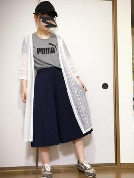 ねこねさんの「Puma T-Shirt With Large Logo(Puma)」を使ったコーディネート
