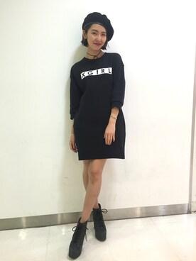 X-girl 原宿|中村 えりさんの「DOUBLE FACE COCOON DRESS /スウェットワンピース/コクーンシルエットドレス/無地/シンプル/ロゴプリント(X-girl)」を使ったコーディネート