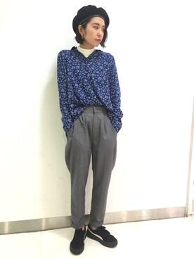 X-girl 原宿|中村 えりさんの「TAPERED PANTS /テーパードパンツ/ゆったりサイズ/シルエット/パンツ(X-girl)」を使ったコーディネート