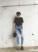 橋本江莉果さんの「Vinatge Leather Belt(TODAYFUL|トゥデイフル)」を使ったコーディネート