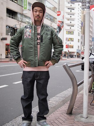 Revelations/ tado_billさんの「月曜美術倶楽部(Monday Art Club) × TOKYO DEMOCRACY MA-1(Revelations/ ラヂオ エヴァ)」を使ったコーディネート