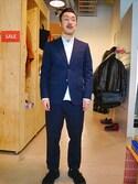 tado_billさんの「【Revelations/別注】 narifuri Dobby houndstooth tailored jacket(narifuri ナリフリ)」を使ったコーディネート