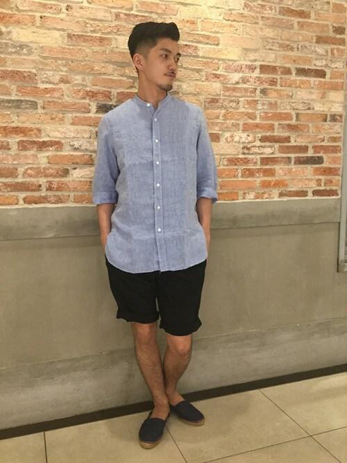 JOURNAL STANDARD 二子玉川店永津雄人さんのシャツ/ブラウス「バンドカラーリネン7ブソデ #(JOURNAL STANDARD|ジャーナルスタンダード)」を使ったコーディネート
