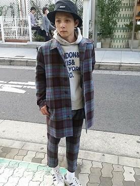 And A 心斎橋OPA店|Satoshiさんの「TARTANボリュームシルエットステンカラーCOAT(And A)」を使ったコーディネート