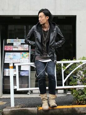 JAM HOME MADE 東京店|Fumihito Sekineさんのライダースジャケット「MONSTER モーターサイクルジャケット(JAM HOME MADE|ジャムホームメイド)」を使ったコーディネート