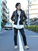 Fumihito Sekineさんの「ダイヤモンドラウンドピアス(JAM HOME MADE|ジャムホームメイド)」を使ったコーディネート