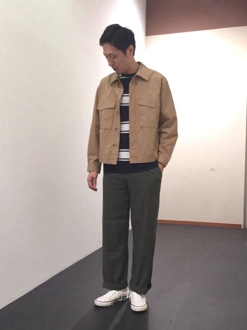 Adam et Rope'   新潟ビルボードプレイスShinya Ishikawaさんのブルゾン「タイプライター サファリシャツブルゾン(ADAM ET ROPE'|アダム エ ロペ)」を使ったコーディネート