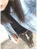 shii...☆さんの「フェイクレザー巾着型ショルダーバッグ(coca|コカ)」を使ったコーディネート