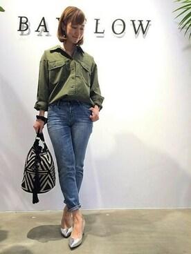 BAYFLOW イオンモール大高店 BAYFLOW イオンモール大高さんのシャツ/ブラウス「BAYFLOW/カルゼビッグブラウス (BAYFLOW ベイフロー)」を使ったコーディネート
