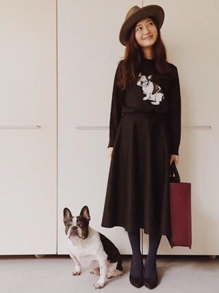 CurtainCall OnlineShop|酒井 景都さんの「圧縮ウールサーキュラースカート(DRESSTERIOR|ドレステリア)」を使ったコーディネート