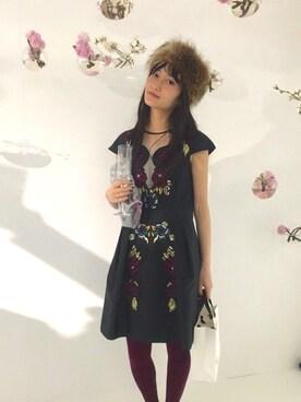 CurtainCall OnlineShop|酒井 景都さんの「TEMPERLEY LONDON フラワー刺繍ワンピース(ESTNATION|エストネーション)」を使ったコーディネート