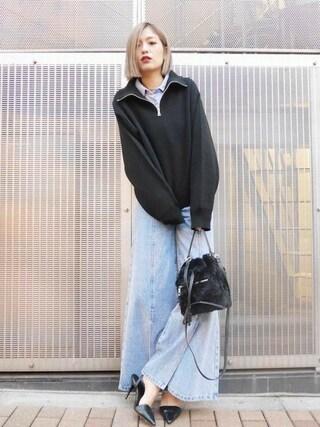 EMODA渋谷109店|徳永美乃里さんの「FRONT SLIT ワイド デニム(EMODA|エモダ)」を使ったコーディネート