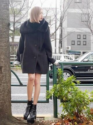 EMODA渋谷109店|徳永美乃里さんの「コクーン フェイクファー コート(EMODA|エモダ)」を使ったコーディネート